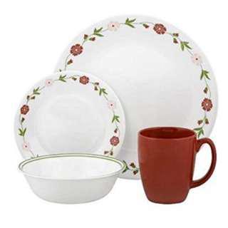Corelle Livingware 20 Piece Spring Pink Dinnerware Set