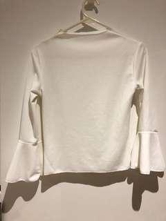 White Bell Sleeved Top with Mock Neck