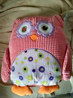 Owl soft toy with label