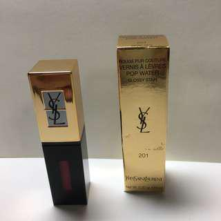 YSL Rouge Pur Couture Vernis A Levres  Pop Water glossy stain no.201