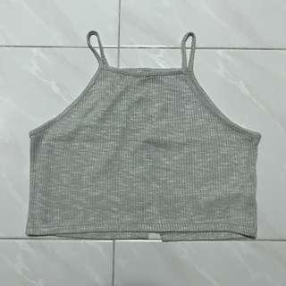 Grey Open-Back Crop Top