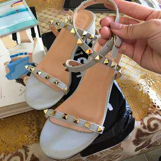 Studded Strap Low Heels
