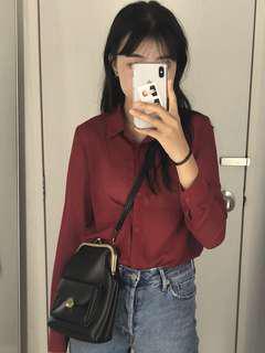 🚚 紅色雪紡長袖襯衫