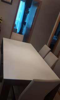 CELLINI QUARTZ TOP DINING TABLE WITH 6 DINING CHAIRS