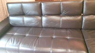 L-SHAPED LEATHER SOFA WITH CHAISE