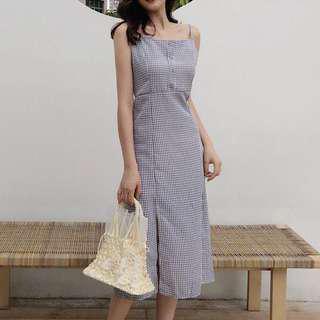 PO Plaid Split Dress