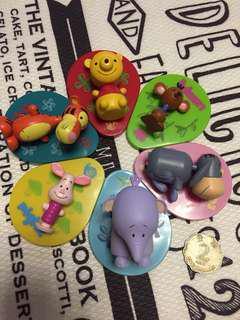 超值 迪士尼 Disney 扭蛋食玩 小熊維尼 Winnie the pooh 跳跳虎 Piglet 小豬 伊唷 EEYORE 小象 LUMPY 袋鼠 ROO 擺件 玩具 一套6隻  $ 80 一套 6款不同