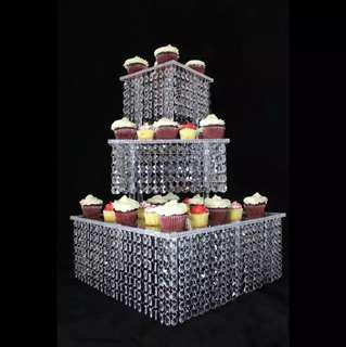 QUENNY Wedding Cake Stand Majestic Acrylic 3 Tier with Jewel Beads