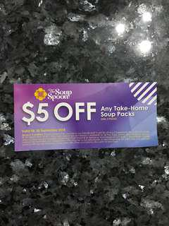 🚚 Free mailing! The Soup Spoon $5 Voucher