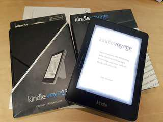 Kindle Voyage + Amazon Leather Cover + Screen Protector