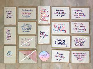 🚚 Handwritten Caligraphy Quote Inspirational Greeting Cards Postcards