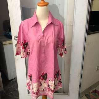 Kemeja bigsize jumbo floral pink