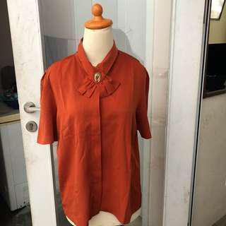 Vintage blouse coklat bata