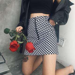 checkered bnw skirt