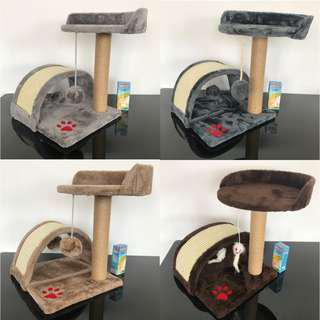 10 colours available, pet cat kitten scratch post toy play mini condo tree