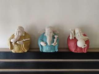 Fu Lu Shou clay figurine