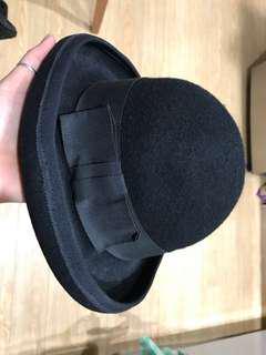 Vintage wool felt bowler hat black