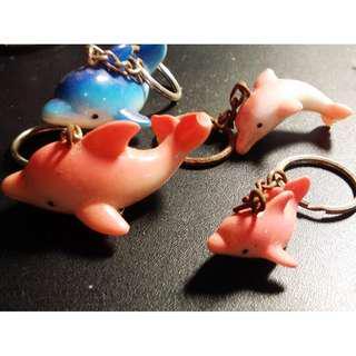 海豚 鑰匙圈吊飾 陶瓷 大小藍粉 海洋公園紀念品