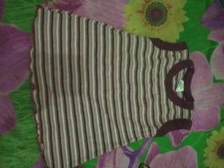 Dress / atasan bayi zidan maroon garis