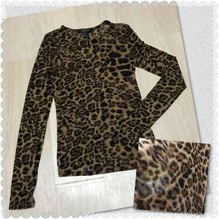 F21 Leopard print see sheer blouse