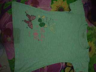 Kaos anak brand contempo kupu hijau