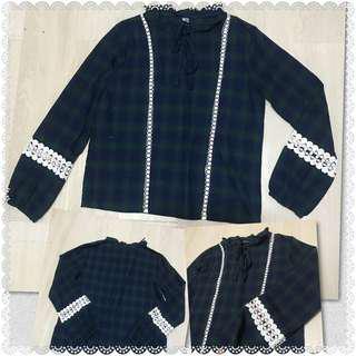 Checkered crochet long sleeves