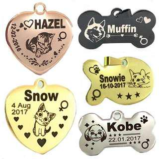 Laser Deep Engraved Customized  Designer Pet ID Tag For Dogs & Cats