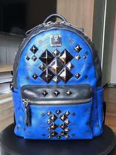 100% Authentic MCM Limited Edition Stark Brock BLUE Small Backpack