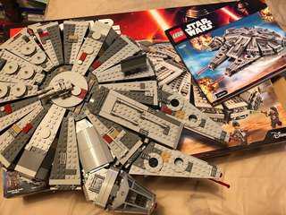 Used 95%新 貼紙未用無塵 Lego Star Wars Millenium falcon 75105 75104