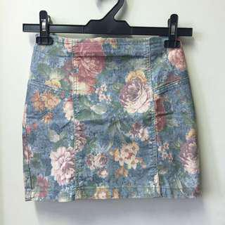 🚚 (SALE) Topshop Floral Skirt Bodycon Tight Flowers Blue Pink Purple Yellow