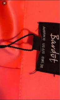 NEW WITH TAGS - CORAL PINK BARDOT SPLIT SKIRT