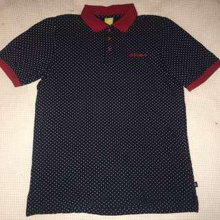 Adidas unisex navy blue and red polka dot polo t shirt