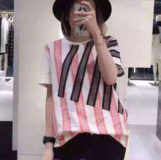 Acne pink & black stripe t shirt