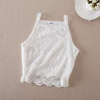 INSTOCK White Crochet Lace Sleeveless Spag Crop Top