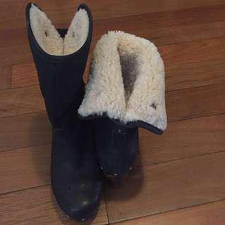 UGG Black Suede Leather Studded Boots EU Size 36