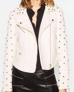 ZARA brand new white leather jacket with rivets