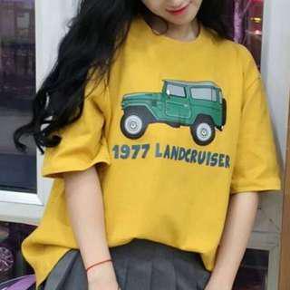 🚚 黃色可愛圖案韓版寬鬆短袖上衣