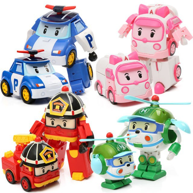 4 Pcs Robocar Poli Action Figures Roy Amber Transformer Robot Car