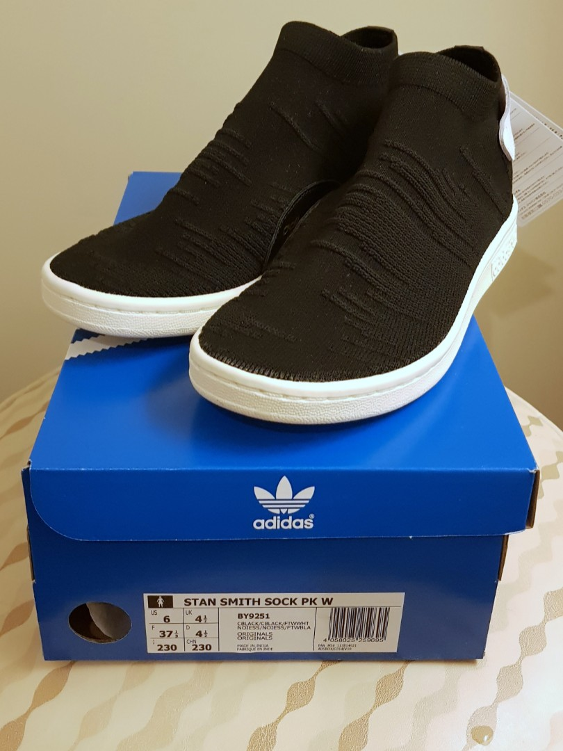 48cb5a8fc208 Authentic Adidas Stan Smith Primeknit Sock (Black) - Ladies