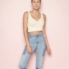 6208d121c31 authentic brandy melville baby light yellow v notch split crop tank top,  Women's Fashion, Clothes, Tops on Carousell
