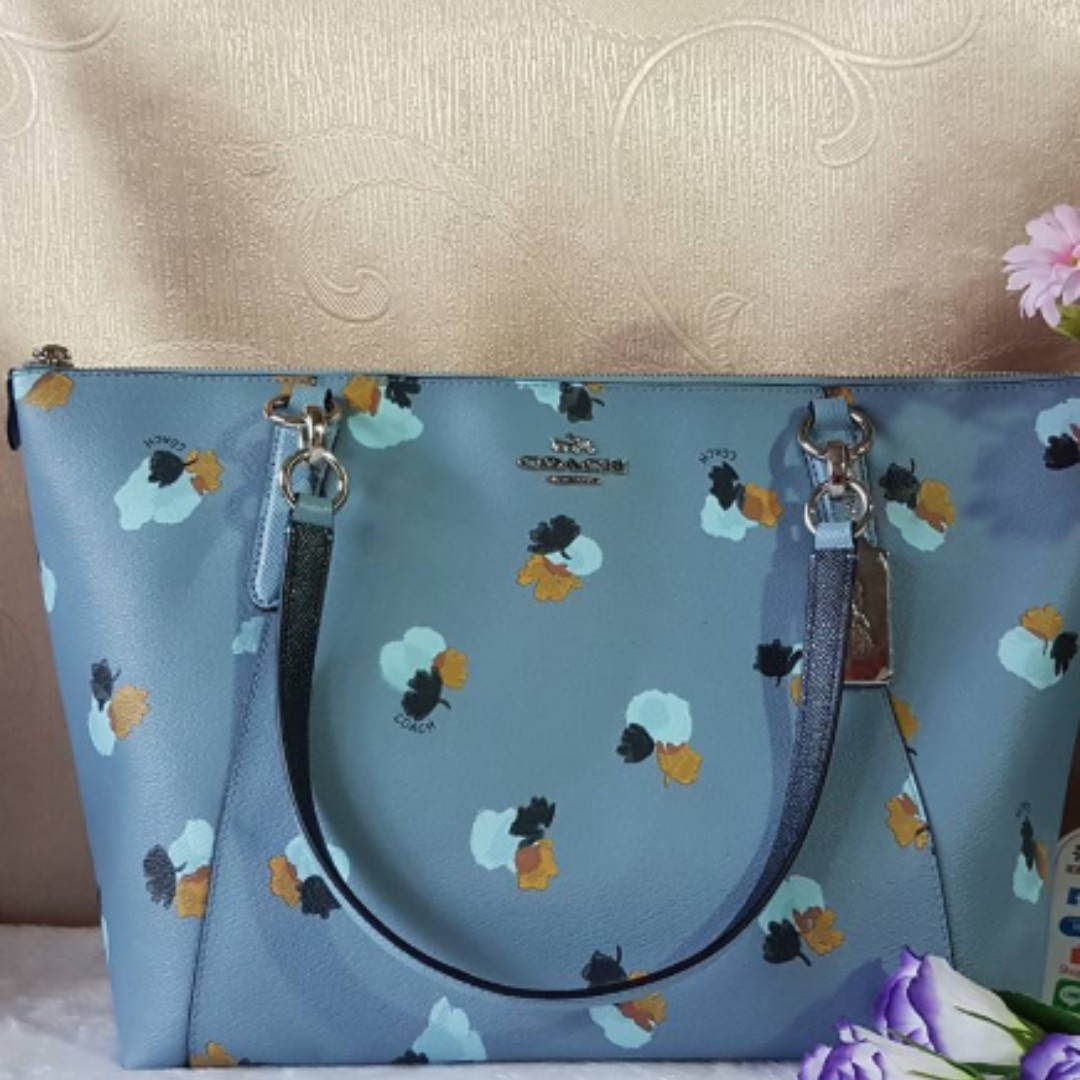 cb47c04afdc6 Authentic Coach Ava Tote in Halftone Floral Print Coated Canvas F55192 -  Blue
