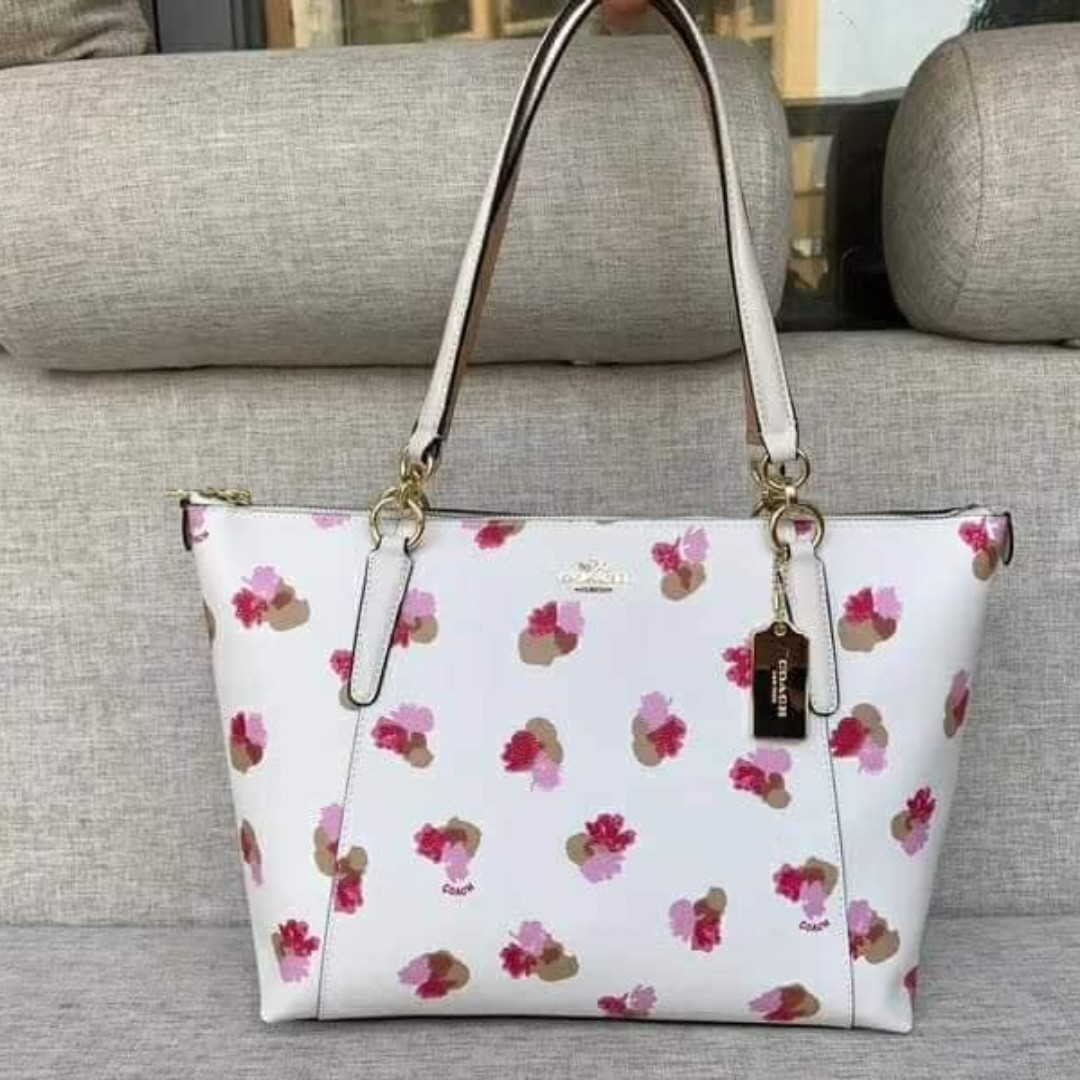 0dcb2fac7ee9 Authentic Coach Ava Tote in Halftone Floral Print Coated Canvas F55192 -  Chalk
