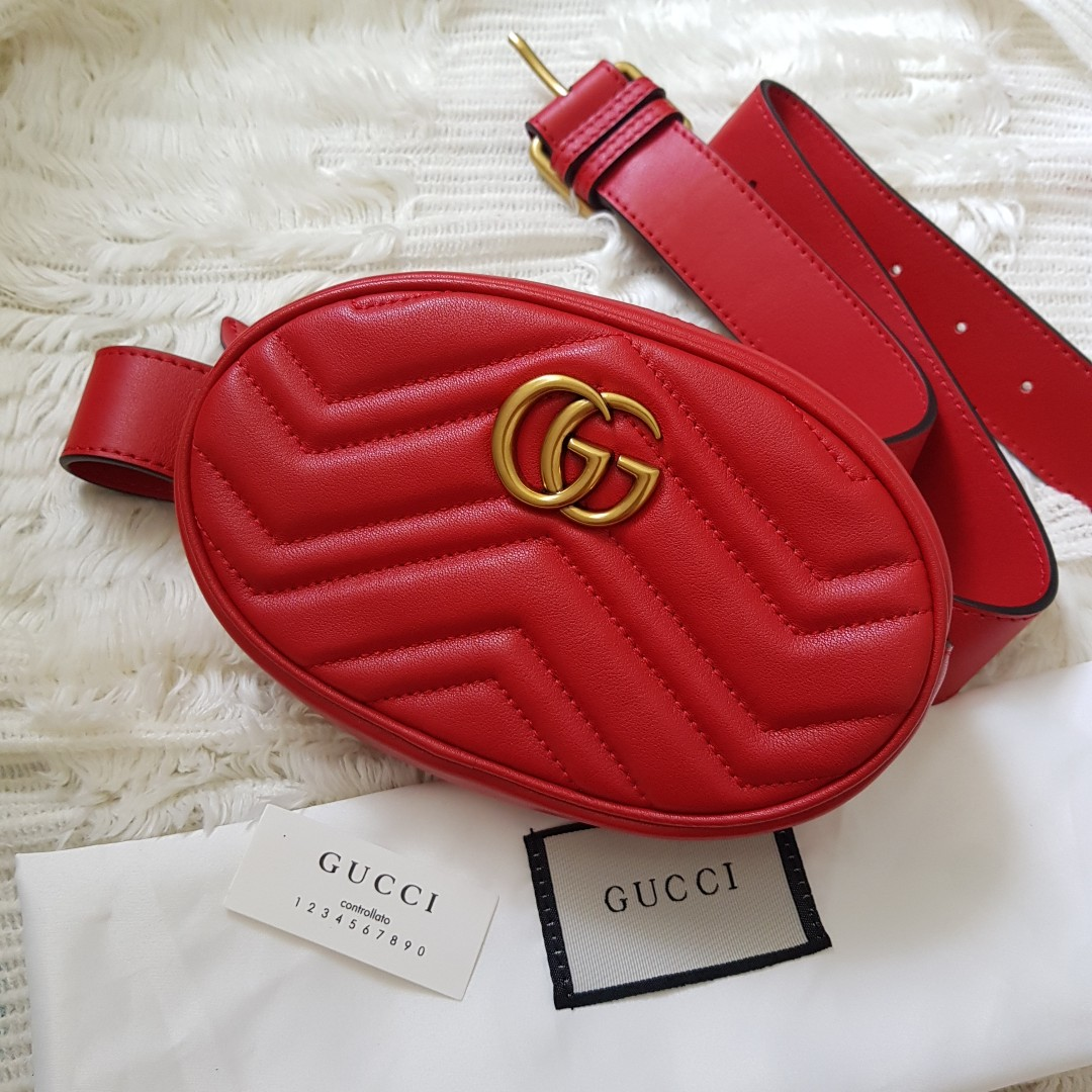 c3e6ea1e4d6 Authentic Gucci GG Marmont Small Quilted Leather Belt Bag