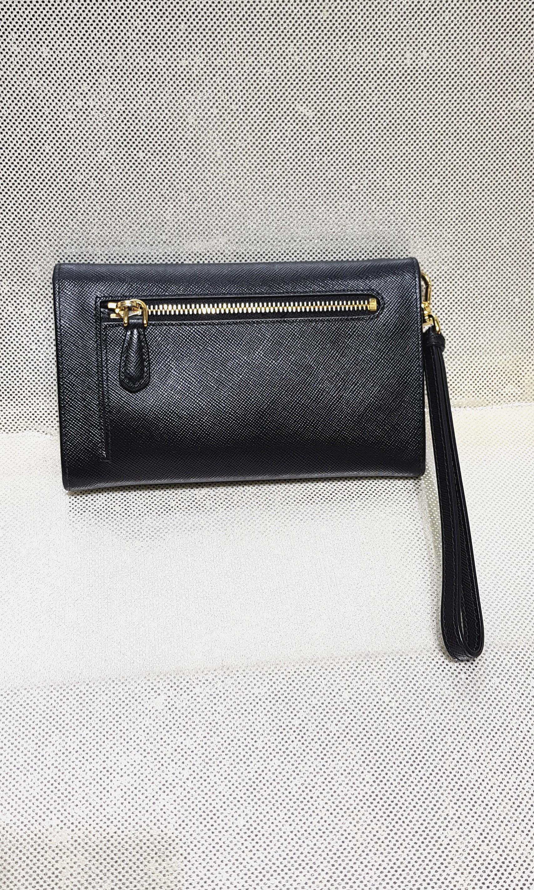 d216a805d5d2 Authentic Prada Black Saffiano Wristlet Wallet
