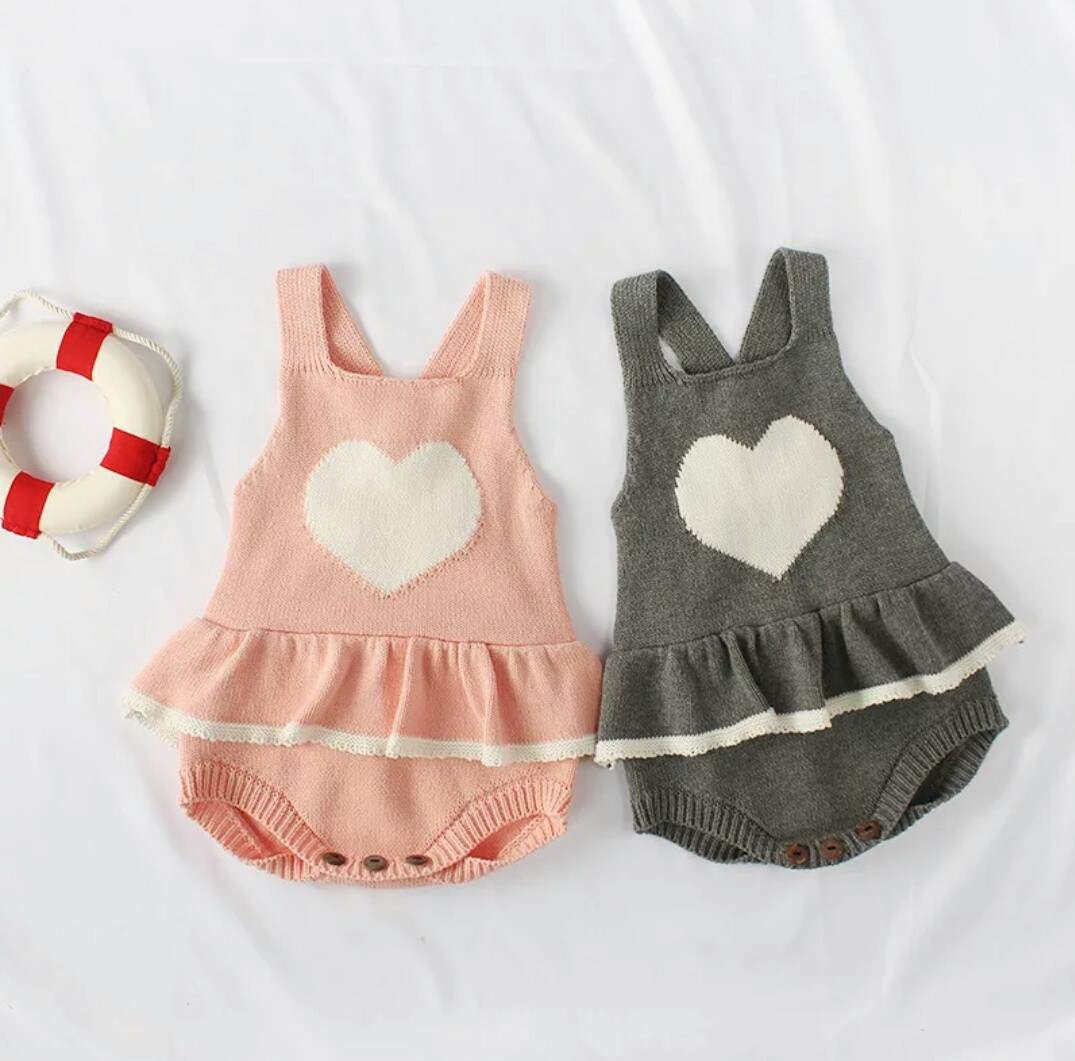 8cf93c71 🌟PM for price🌟 🍀Baby Girl Heart Printed Knitted Sleeveless Romper ...