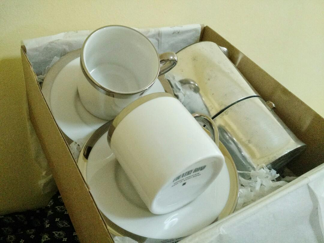 BN Country Road, Monno Porcelain Espresso Cups with Platinum
