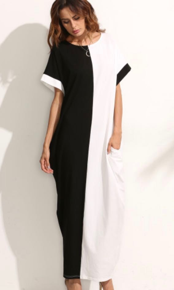 bf39755f8b57 BNIB Black and White Colourblock Maxi Dress with POCKETS