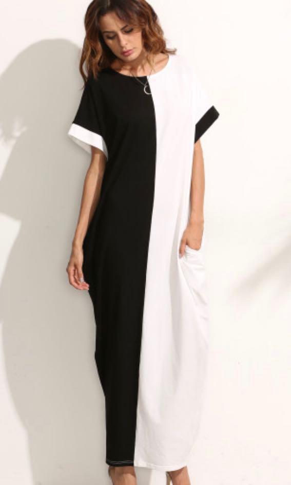 9bc85e84a2 BNIB Black and White Colourblock Maxi Dress with POCKETS