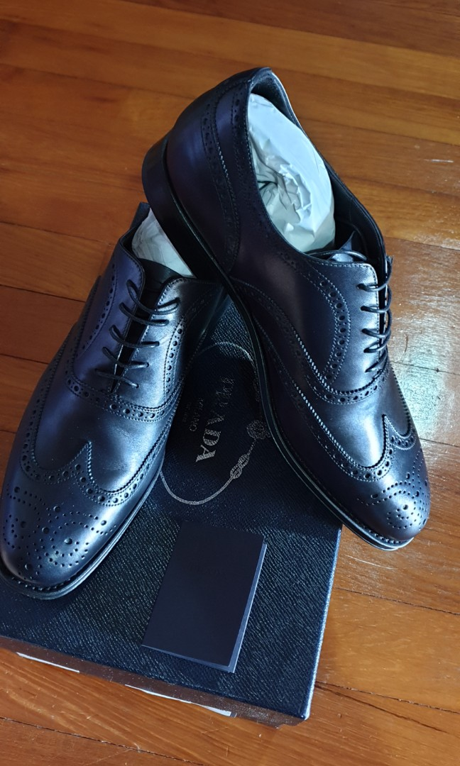 Bnib Prada Mens Black Oxford Leather Shoes Luxury Shoes On Carousell