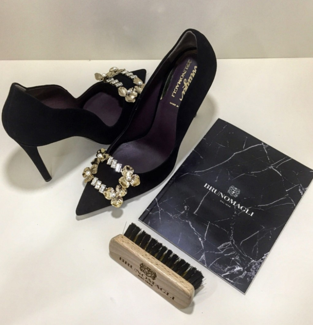a5c0eb371937f Bruno Magli Suede Pumps with Swarovski Crystal and Gold Plated ...